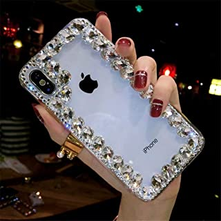 HTC Desire 626 Crystal Diamond Case, 3D Handmade Luxury Sparkle Crystal Rhinestone Diamond Glitter Bling Clear TPU Silicone Case Cover HTC Desire 626s (Border/White)