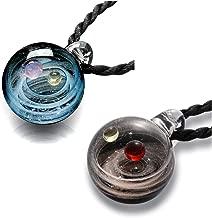 Jovivi Unique Design Glass Universe Ball Necklace Galaxy Planet Pendant Nebula Ribbon Vortex Cosmos Series