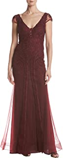 Xscape Women's Short Sleeve Embroidered Lace Dress