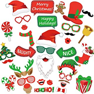 Photo Booth Props 35pcs - Xmas Games for Party Supplies, Pictures Backdrop Decorations Set Favors for Adults Kids, Holiday Selfie Props, DIY Dress-up Decor