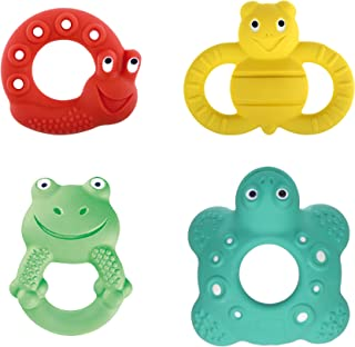 MAM Baby Toys, Teething Toys, Lucy the Snail, Ellie the Bee, Max the Frog, and Bob the Turtle, 100% Natural Rubber Developmental Teether Toys, 'Friends' Collection, 2+ to 5+ Months, Unisex, 4-Count