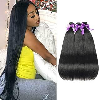 FASHION QUEEN Hair Brazilian Straight Hair 3 Bundles 8A Unprocessed Virgin Hair Human Hair Bundles Natural Color (16 18 20)