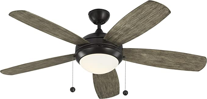 Monte Carlo 5di52agpd Discus 52 Ceiling Fan With Light And Pull Chain 5 Blades Aged Pewter Amazon Com