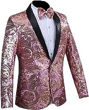 Abetteric Men's One Button Sequin Glitter Fashion Tuxedo Suits Jacket
