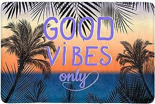 InterestPrint Good Vibes Only with Summer Tropical Palm Tree Doormat Non Slip Indoor/Outdoor Doormat Floor Mat Home Decor,...