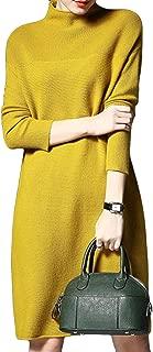 ASHER FASHION Women's Loose Long Sleeve Turtleneck Knit Pullover Sweater Dress