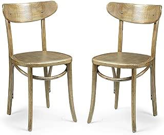 ELEGAN Natural Elm Wood Vintage-style Dining Chairs (Set of 2)