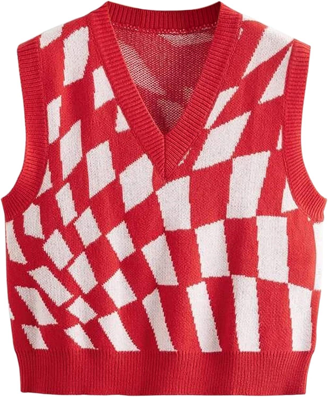 Meladyan Women Cheap bargain Y2K Plaid Discount is also underway Argyle Knitted Slee Sweater V Neck Vest