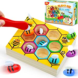 CozyBomB Toddler Fine Motor Skill Toy - Clamp Bee to Hive Matching Game - Montessori Wooden Color Sorting Puzzle Early Learning Preschool Educational Gift Toys for 2 3 4 Years Old Kids