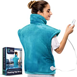 """Cure Choice XL Electric Heating Pad for Back Pain Relief, Ultra Soft 24""""x33"""" Heating pad for Muscle Cramps – Heated Pad with Adjustable Temperature Settings, Safe Auto Shut (Blue)"""