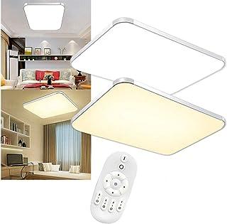Aufun Lámpara LED de techo regulable 72 W, lámpara de techo con mando a distancia para dormitorio, habitación de los niños, cocina, oficina, pasillo, baño, interior, IP44, rectangular