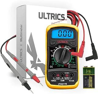 ULTRICS Multimetro Digital Profesional, Voltímetro Amperímetro Ohmímetro Probador Voltaje Continuidad, Medidor Corriente, Mini Multímetro Portátil con Pantalla LCD para Medir OHM AC DC Resistencia