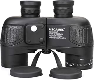 USCAMEL 10x50 Marine Binoculars for Adults, Military Binoculars Waterproof with Rangefinder Compass BAK4 Prism FMC Lens Fogproof for Navigation Birdwatching Hunting … (10x50)