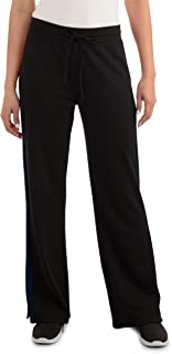 Seek No Further Women's Relaxed Fit Pull on Side Slit Wide Leg Track Pant,