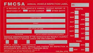 "FMCSA Annual Vehicle Inspection Label - Aluminum with Punch Boxes – 20-Pack - Permanent Self Adhesive – 3.5"" x 6"", English – J. J. Keller & Associates"