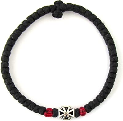 Handmade Christian Orthodox Komboskoini, Prayer Rope Thin Knots Black - 3D