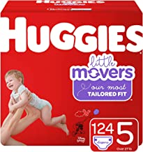Huggies Little Movers Diapers, Size 5 (27+ lb.), 124 Ct, One Month Supply (Packaging May Vary)