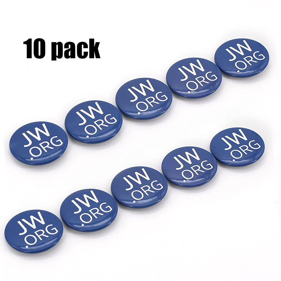 Round Jw.org 1.5 Inch Buttons with Safty Pin - Pack of 10 Made in USA