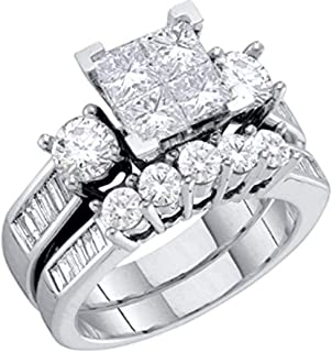 Diamond Bridal Set 10K White Gold Engagement Ring/Wedding Ring Set Princess Cut White Gold 10k 2pc Set (1.00cttw, i2/i3, I/j)