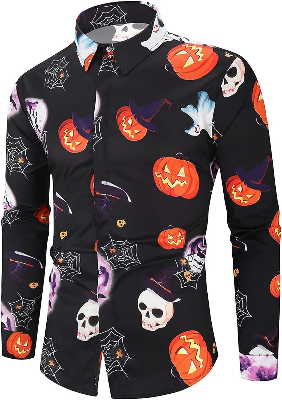 Mens Pumpkins Button Down Long Sleeve Shirt Halloween Shirts Casual Slim Fit Printed T-Shirts Dress Shirts