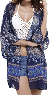 Womens Floral Chiffon Kimono Cardigans Loose Beach Cover Up