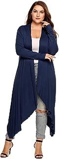 Women Oversized Long Sleeve Open Front Asymmetrical Waterfall Long Cardigan Sweater Plus Size L-5XL