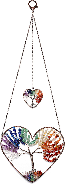 CrystalTears 7 Chakra Crystal Heart Tree of Life Hanging Ornament Natural Chakra Healing Crystal Gemstone Wall Hanging for Home Office Decor Meditation Yoga