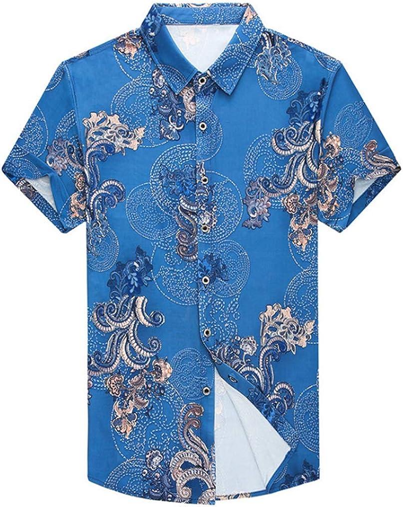 Men's Large Size Shirt Casual Hawaiian Beach Holiday Thin Short Sleeve Shirt