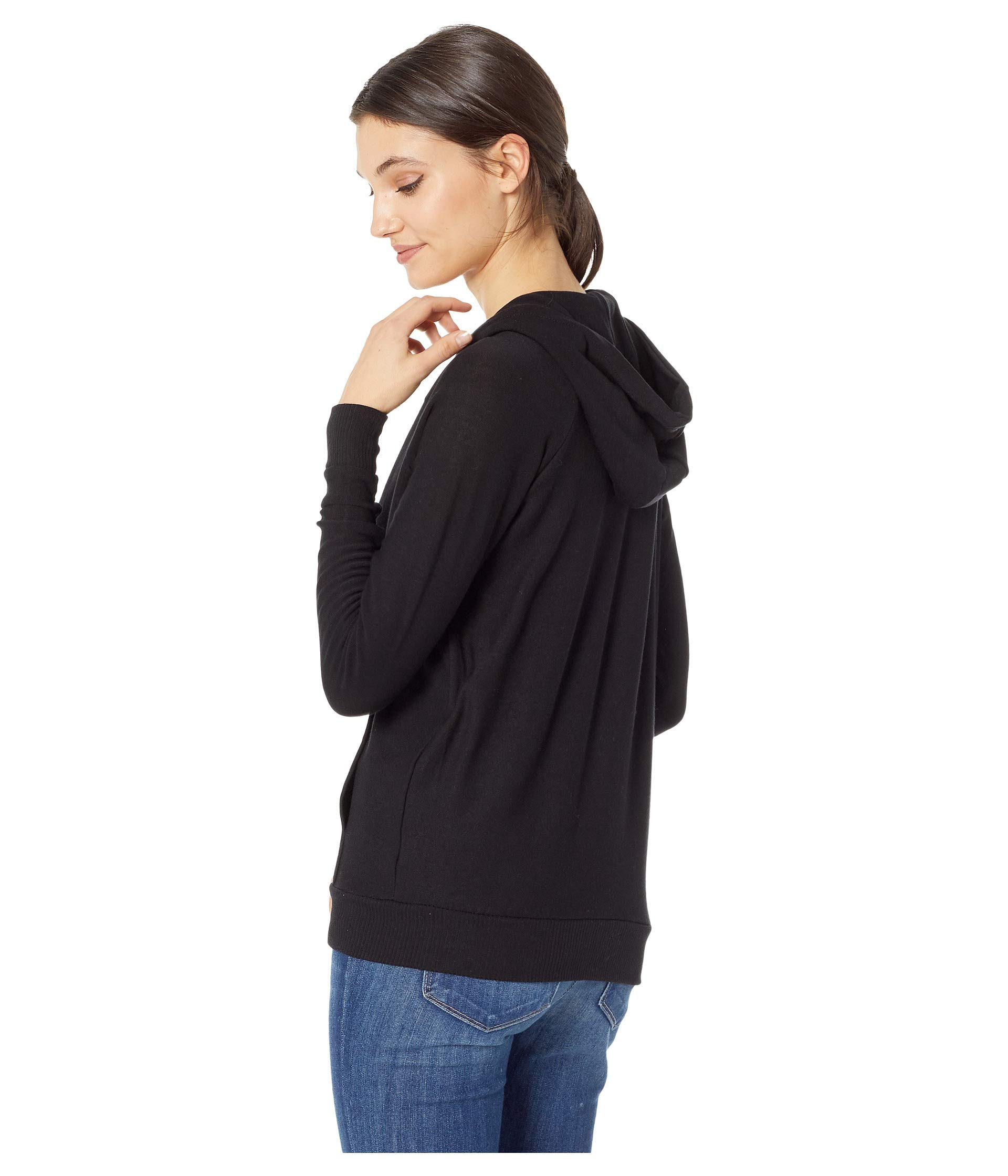 Knit True Chaser Zip Long up Black Hoodie Raglan Sleeve Cozy 45BwUwxq8P