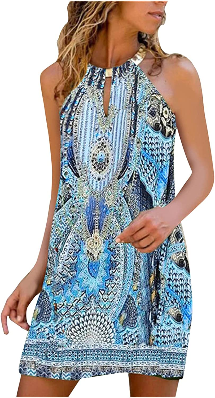 TAYBAGH Beach Dresses for Women Short, Womens Floral Printed Casual Summer Dress Metal Hanging Neck Sleeveless Sundress