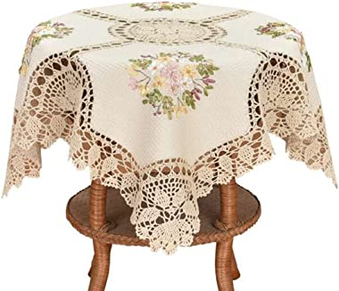 Grelucgo Small Handmade Crochet Cotton Lace Tablecloth, Ribbon Embroidery, Square 33 Inches