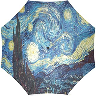 Vincent Van Gogh Painting Starry Night Anti Rain Windproof Travel Golf Sports Foldable Umbrella