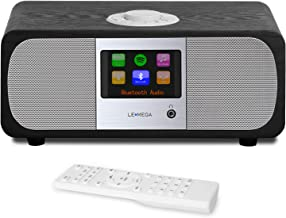 LEMEGA M3+ Smart Music System with Wireless Internet Radio, FM Radio, Bluetooth, Spotify, WiFi, 2.1 Channel Stereo Speaker, USB MP3, Headphone-Out, AUX-in, Alarms, App & Remote Control (Black Oak)
