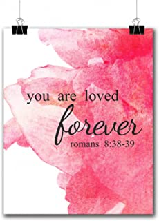 VILIGHT Christian's Gifts Bible Verse Posters for Classroom Office and Room - Watercolor Scripture Quotes Printed Wall Art - 8x10 Inches (Romans 8:38-39)