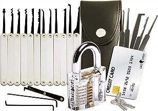 Juego de ganzúas con 20 piezas - Incluye candado transparente y tarjeta de crédito con herramientas de Lock Cowboy - Guía para principiantes y cerrajeros