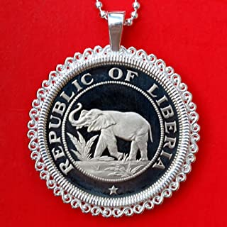 1978 Liberia 2 Cents Gem BU Proof Coin Solid 925 Sterling Silver Necklace NEW - Elephant