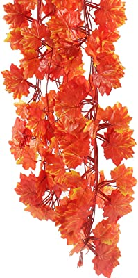 Fourwalls Polyester Artificial Green Ivy Vines/Leaves (10 cm x 10 cm x 190 cm, Orange, Set of 12)