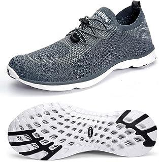 SHUFER Men's Quick Drying Aqua Water Shoes Flyknit Air Mesh Comfortable Outdoor Walking Sneakers