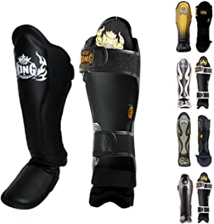 KINGTOP Top King Shin Guard Protector Empower Creativity Superstar Color Black White Size S M L XL for Protection in Muay Thai, Boxing, Kickboxing, MMA