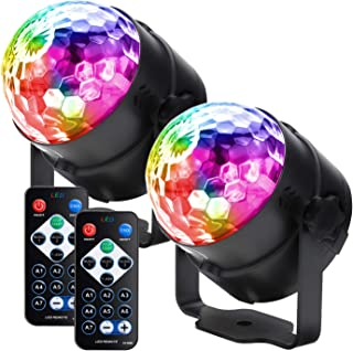 Party lights Disco Ball LED Strobe Lights Sound Activated, RBG Disco lights,dj lights,Portable 7 Modes Stage Light for Home Room Dance Parties Birthday Bar Karaoke Xmas Wedding Show Club(2 pack)