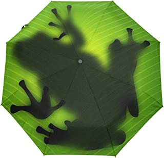 Naanle Cute Red Eyed Tree Frog Auto Open Close Foldable Windproof Travel Umbrella