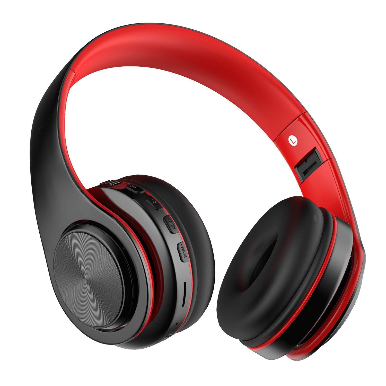 Auriculares inalámbricos Bluetooth, Headphones Plegables con Micrófono, Deportivos Estéreo HiFi Bajos Profundos Compatible con Smartphones, Tabletas, Computadoras, TV / PC de MeihuaTu-Negro Rojo: Amazon.es: Electrónica