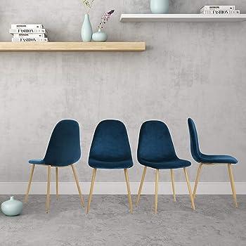 FurnitureR Juego de 4 sillas de comedor para cocina, sillas laterales modernas de mediados de siglo, silla de comedor tapizada de terciopelo con patas de metal Azul