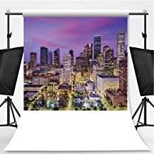 Houston Theme Backdrop Party Photography Background,Texas Skyline,10x10ft