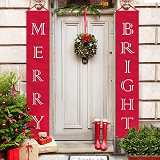 ORIENTAL CHERRY Christmas Decorations Outdoor Indoor – Merry Bright Porch Sign..