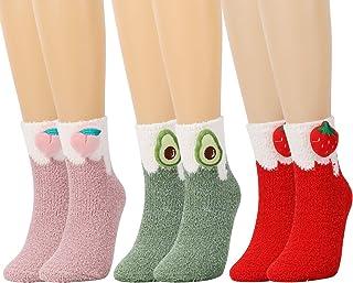 QKURT, 3 pares de calcetines mullidos para mujeres y niñas, calcetines cálidos de invierno, calcetines de lana de coral para el piso, calcetines suaves para dormir en casa