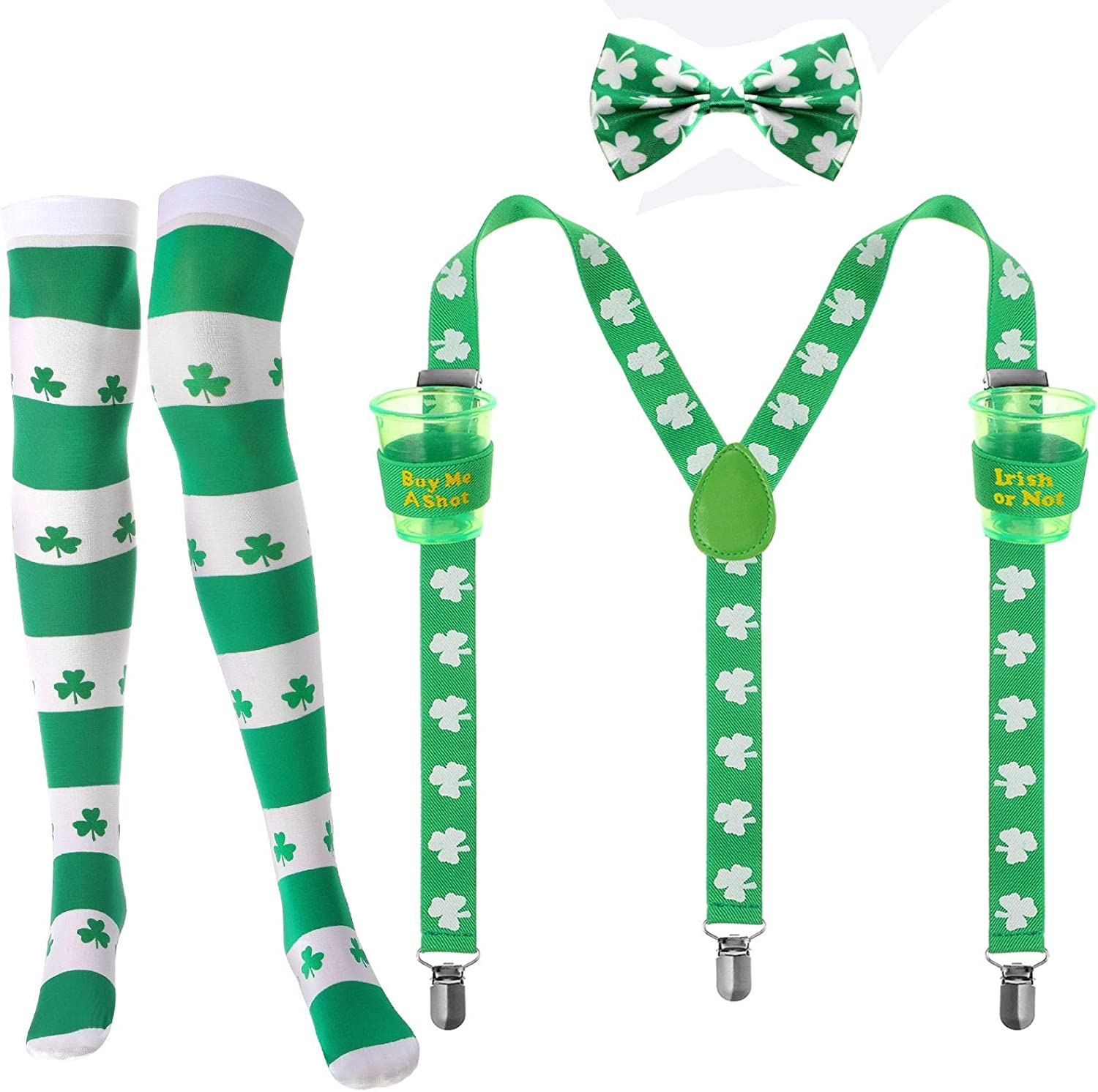 St. Patrick's Day Accessory Set, Include Shamrock Y Back Suspender with Cups, Shamrocks Bowtie and Knee Socks for St. Patrick's Day Party