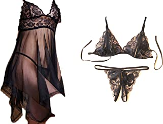 Lingerie for Women 3PC Set Lace Babydoll Strap Chemise Sexy V Neck Sleepwear,Lace Bra and G-String Underwear