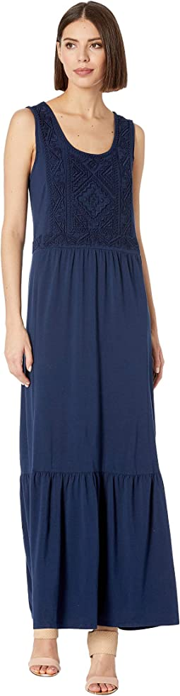 Embroidered Maxi Tank Dress in Cotton Modal Spandex Jersey