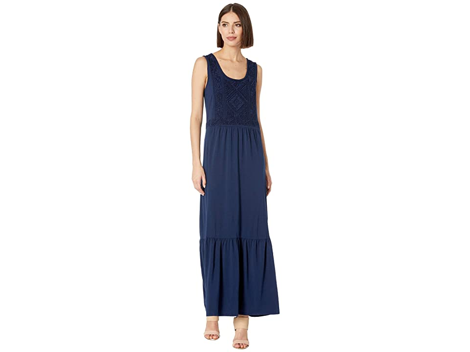 Mod-o-doc Embroidered Maxi Tank Dress in Cotton Modal Spandex Jersey (True Navy) Women